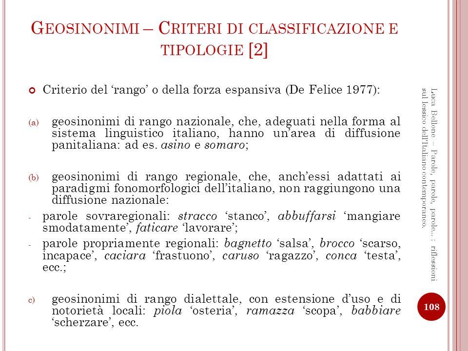 Geosinonimi – Criteri di classificazione e tipologie [2]